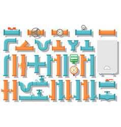 Pipe and water supply equipment vector