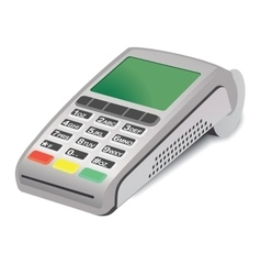POS terminal on white background vector image