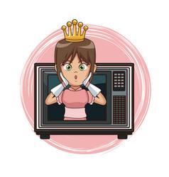 Princess videogame character cartoon on tv vector