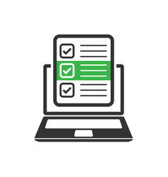Questionnaire laptop icon in flat style online vector