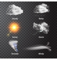 Realistic Set Weather Icon Set vector