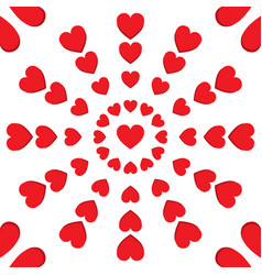 red heart round seamless pattern vector image
