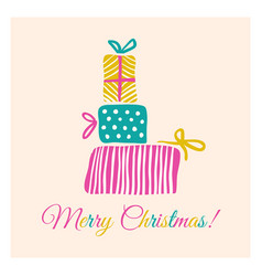retro card with christmas gifts vector image