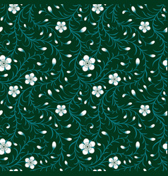 seamless white flower pattern on green background vector image
