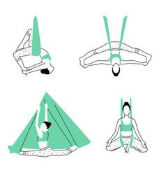 Set aerial fly yoga poses anti-gravity yoga vector