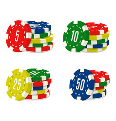 Set four casino chips stacks with different vector
