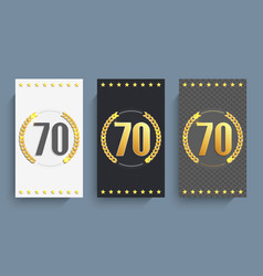 Set of 70th anniversary cards template vector