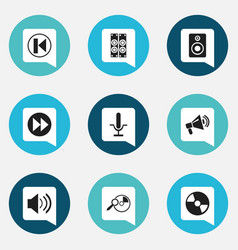 set of 9 editable multimedia icons includes vector image