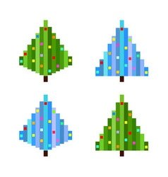 Set of four pixel art christmas trees flat vector