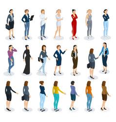 Set of isometric standing women vector