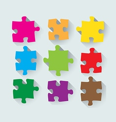Set of puzzle pieces vector image