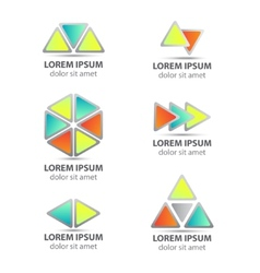 set of triangle abstract icons isolated vector image vector image
