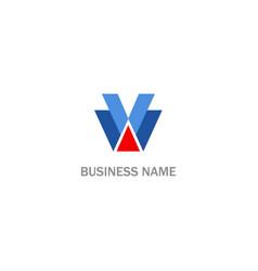 shape v initial business logo vector image