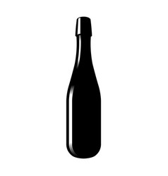 silhouette of a glass bottle of sparkling wine vector image