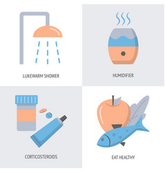 skin allergy treatment icon set in flat style vector image