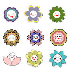 smiley cute flower icon set on white background vector image