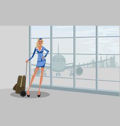 stewardess at the airport vector image