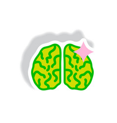 stylish icon in paper sticker style brain stroke vector image