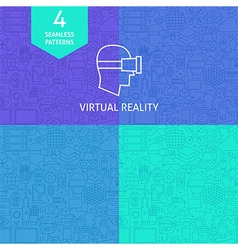 Thin Line Art Virtual Reality Pattern Set vector