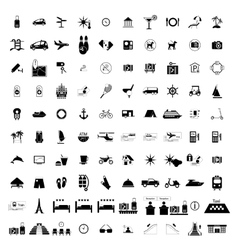 Tourism hotel simple black icons vector