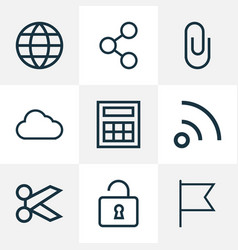 user icons line style set with storage social vector image