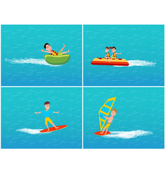water transport and relaxation set kids vector image