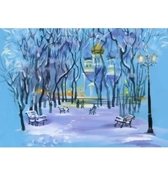 Watercolor winter landscape with church in park vector