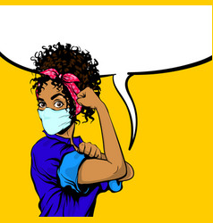 we can do it black african woman in medical mask vector image