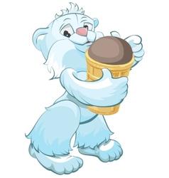 White bear holding chocolate ice cream cone vector