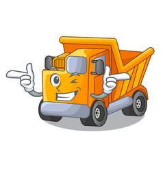 Wink cartoon truck transportation on the road vector