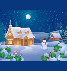 Winter holiday village vector