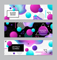 geometric shapes banners set vector image