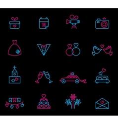 Line wedding icons vector image