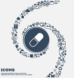 pill icon in the center Around the many beautiful vector image vector image