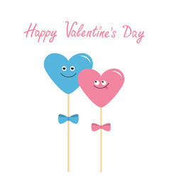two hearts on sticks with bows cute cartoon vector image vector image