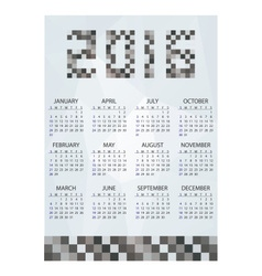 2016 simple business wall calendar grayscale vector image