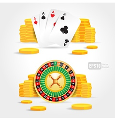 casino roulette money poker cards game set vector image vector image