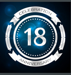 eighteen years anniversary celebration with silver vector image vector image