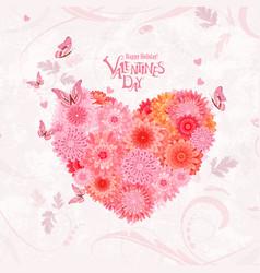 Flower heart on shabby chic background lovely vector