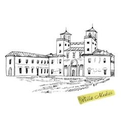 Italian landmark villa medici isolated ink sketch vector