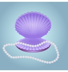 Shell with pearl beads vector image vector image