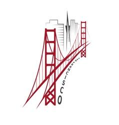 skyline of San Francisco design template vector image