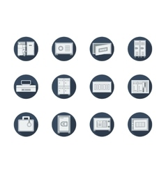 Storage lockers and safes round flat icons vector image