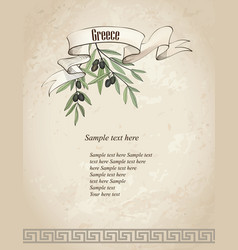 Vintage olive branch background vector