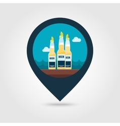 Beer bottle pin map icon Summer Vacation vector image vector image