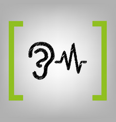ear hearing sound sign black scribble vector image vector image