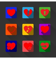 hearts with long shadow icon set vector image