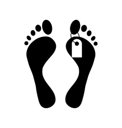 Human feet with toe tag icon simple style vector image vector image