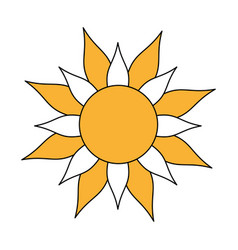 color silhouette image yellow sun in flower figure vector image vector image