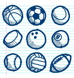 Doodle Sport Ball Icons vector image vector image